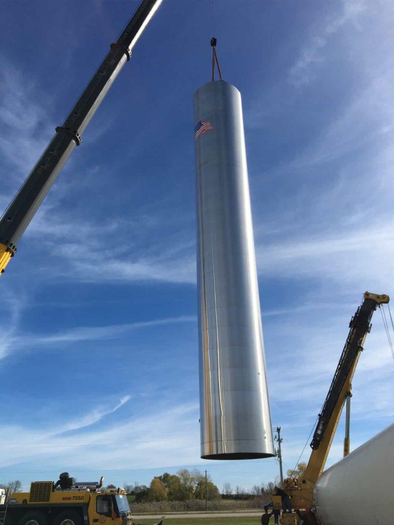 crane setting silo